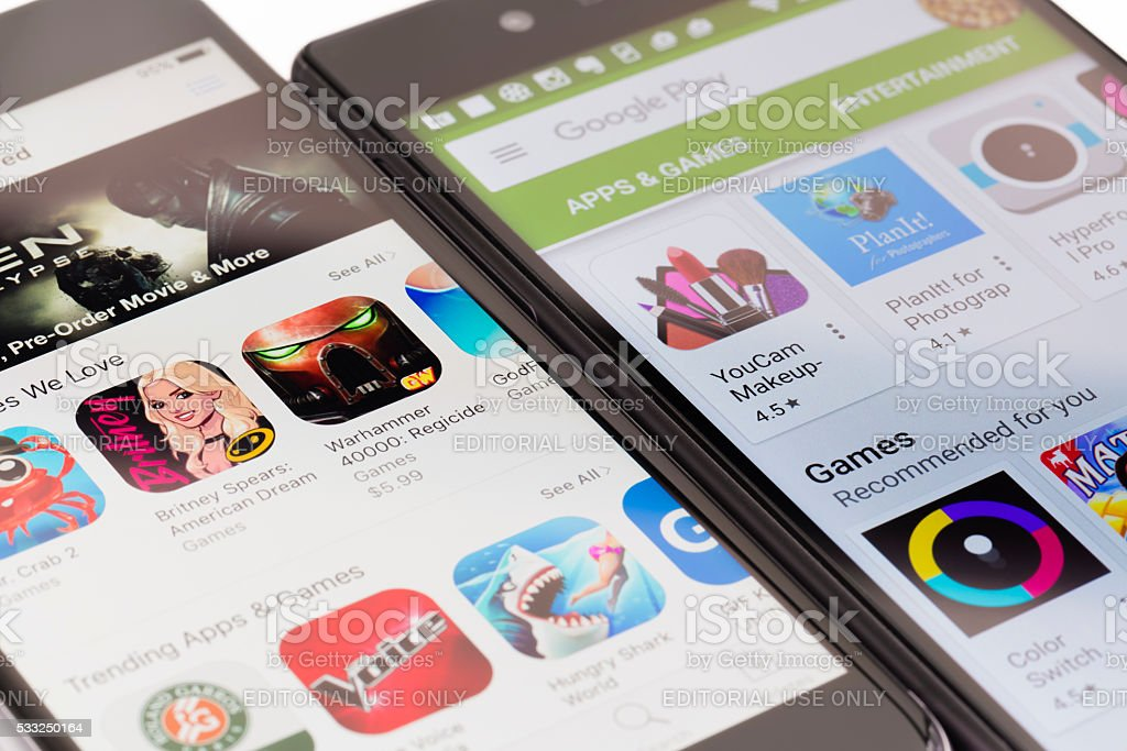 Google Play and Apple App Store stock photo