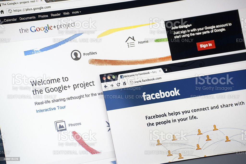Google Plus and Facebook Home Page stock photo