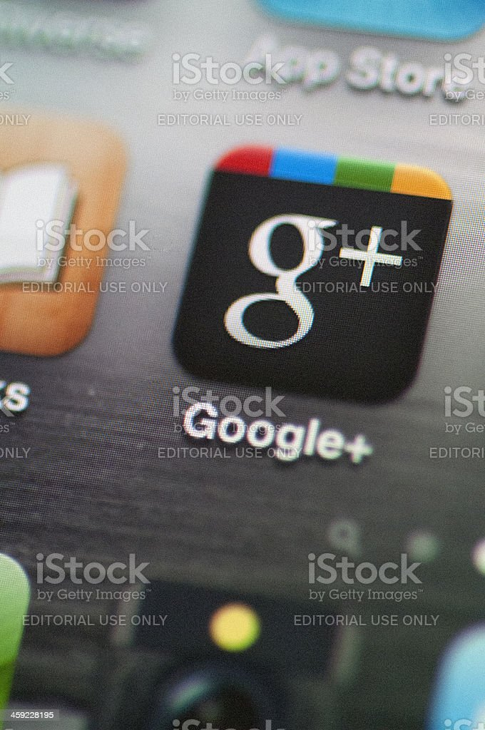 Google plus icon on an iphone royalty-free stock photo
