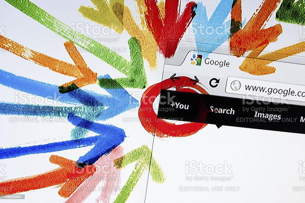 Google Plus Interactive Tour, Closeup on LCD Screen stock photo