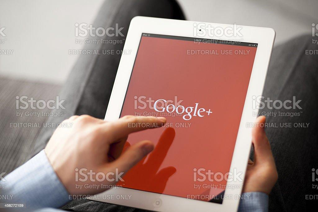 Google Plus on iPad stock photo