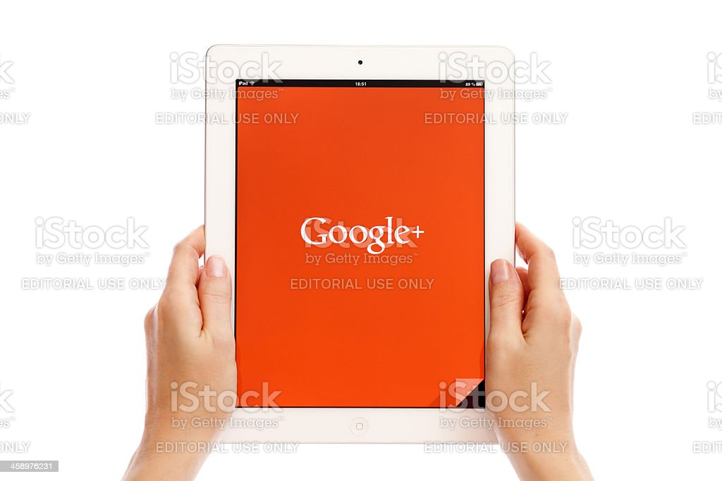Google Plus on iPad stock photo