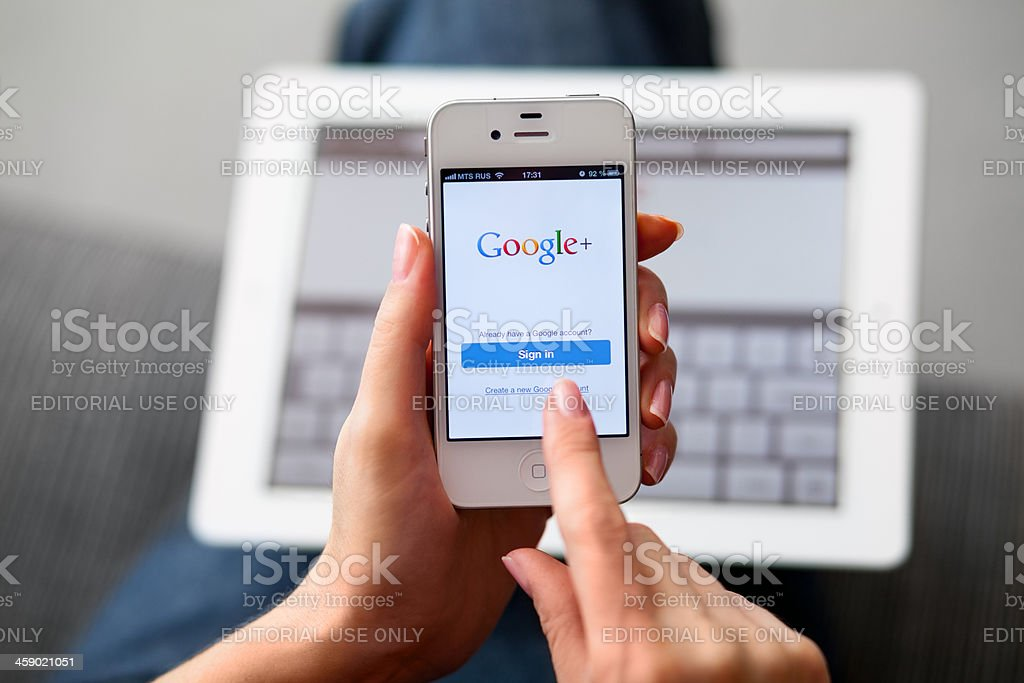Google Plus on iPhone royalty-free stock photo