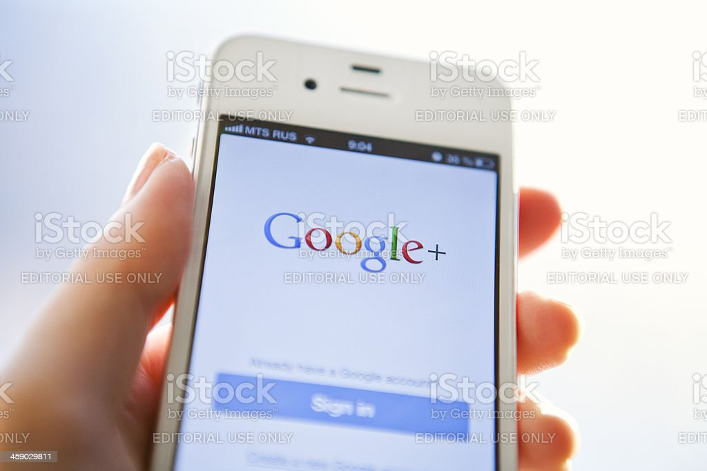 Google Plus on iPhone stock photo