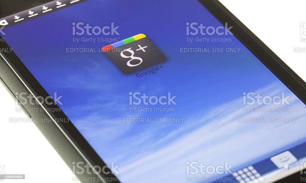 Google Plus on mobile device stock photo