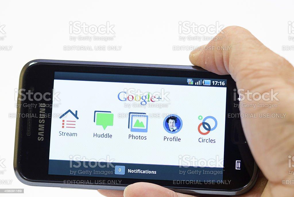 Google Plus on Samsung Galaxy smartphone stock photo