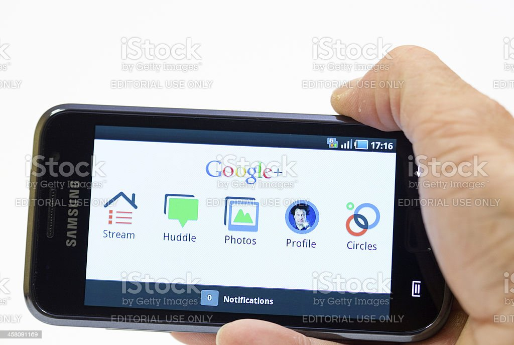 Google Plus on Samsung Galaxy smartphone stock photo