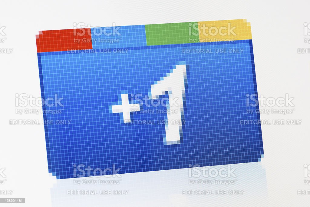 Google plus one button macro close-up on laptop monitor royalty-free stock photo