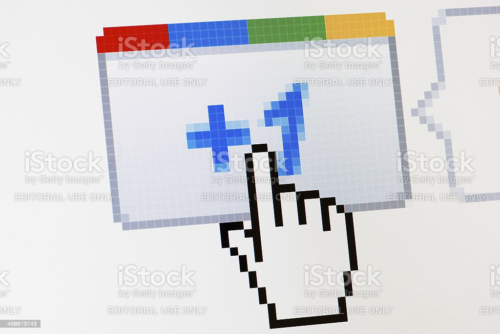 Google plus one button macro close-up on laptop monitor stock photo
