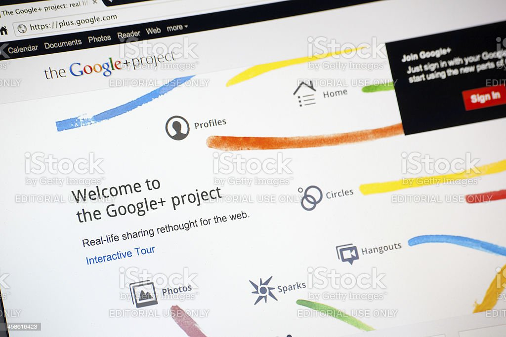Google Plus Social Network Home Page royalty-free stock photo