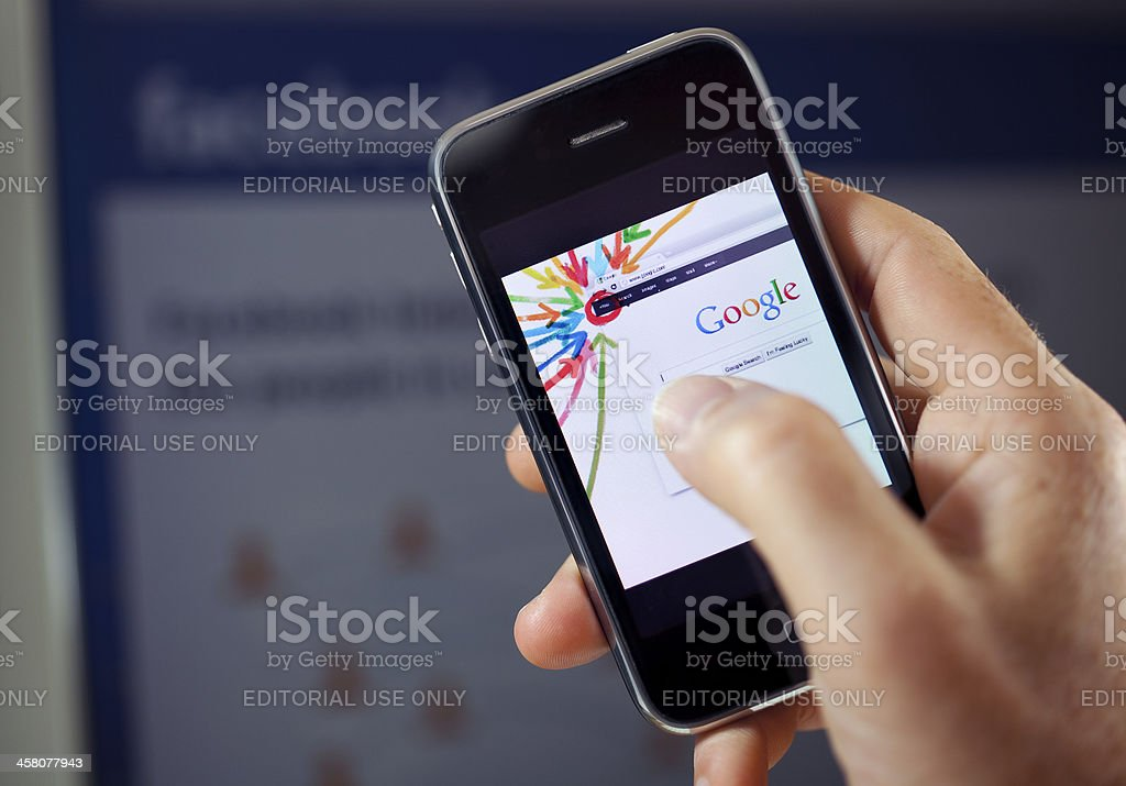 Google Plus vs. Facebook stock photo