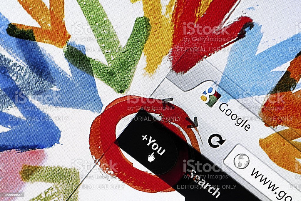 Google Plus Welcome Page, Closeup on LCD Screen royalty-free stock photo
