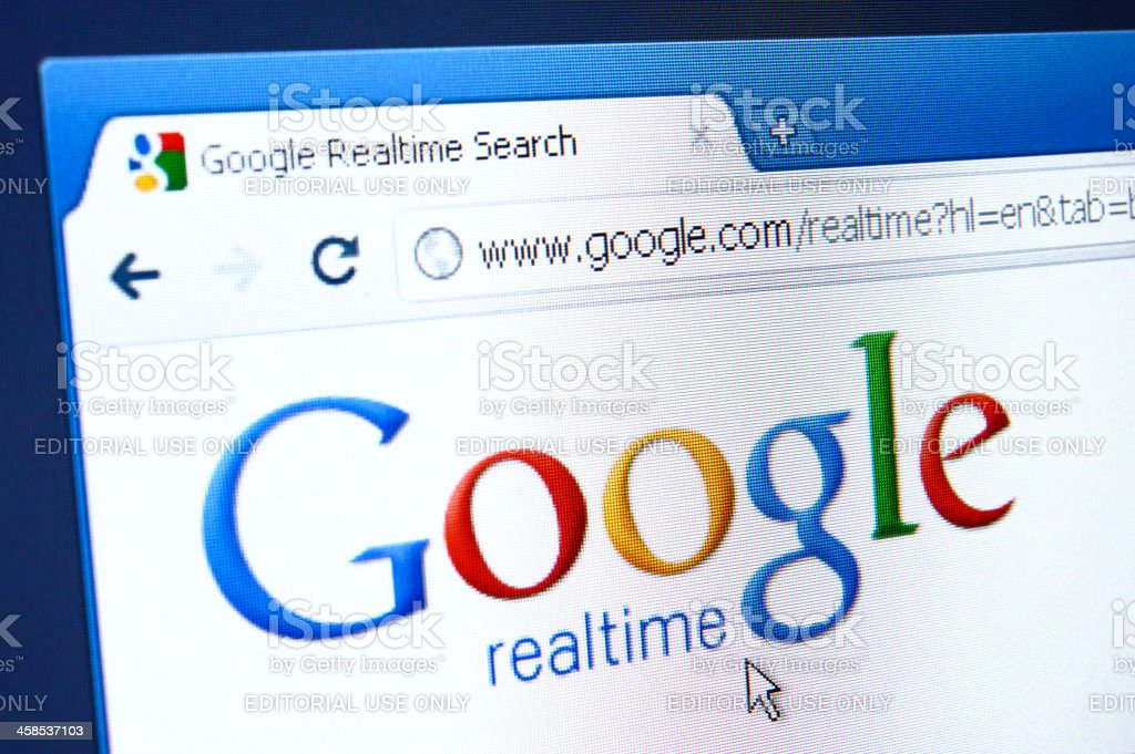 Google Realtime webpage on the browser stock photo