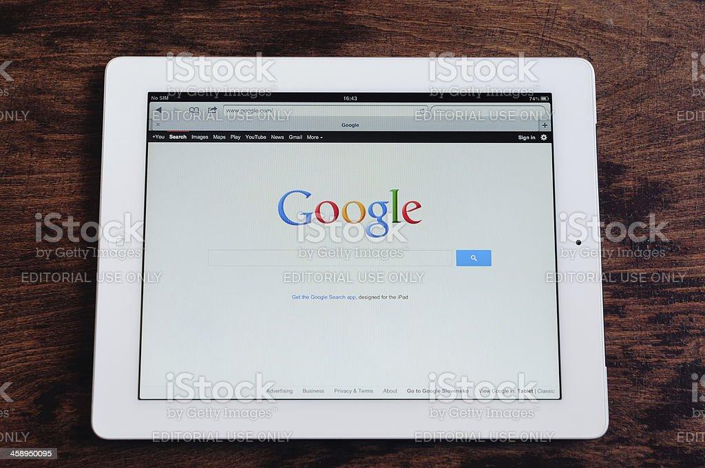Google seach on an iPad stock photo