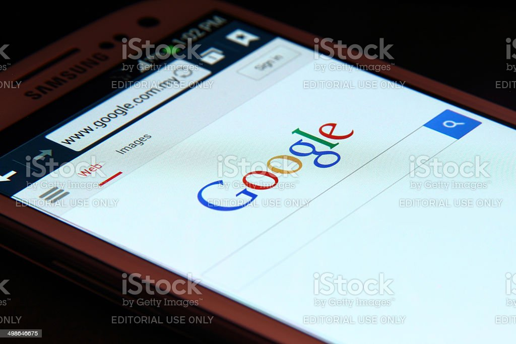 Google search homepage on smartphone stock photo