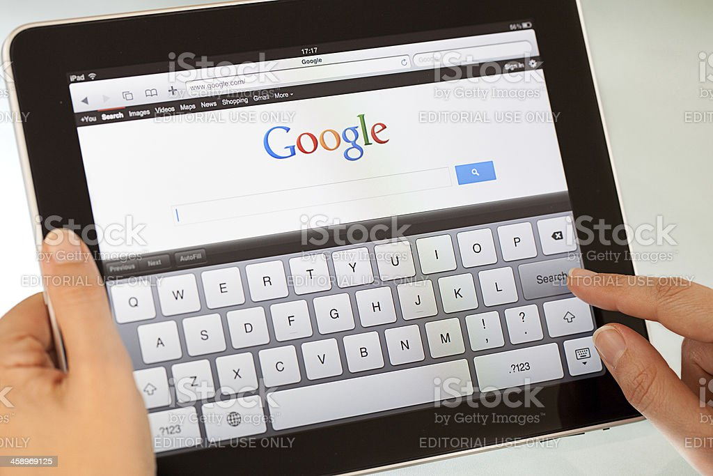 Google Search on Apple iPad2 royalty-free stock photo