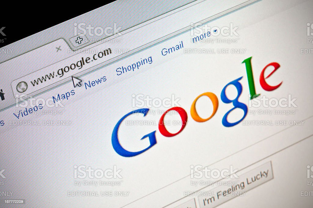 Google search web site in GoogleChrome browser stock photo