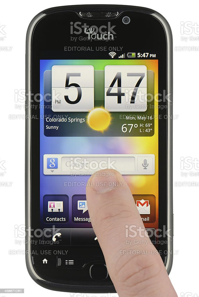 Google Search Widget on an Android Phone stock photo