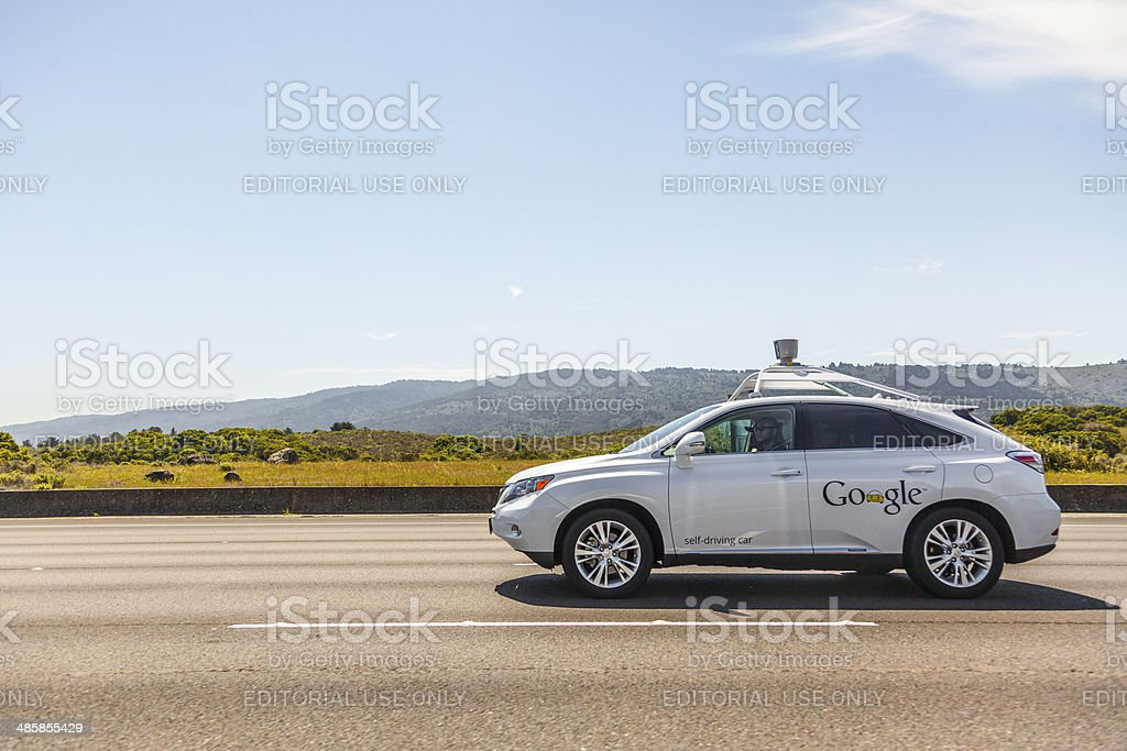 Google self-driving car on California Highway 280 stock photo