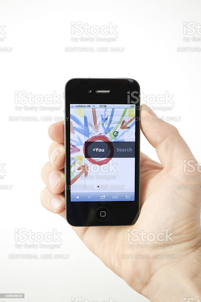 Google+ Social Network Page on Iphone 4 stock photo