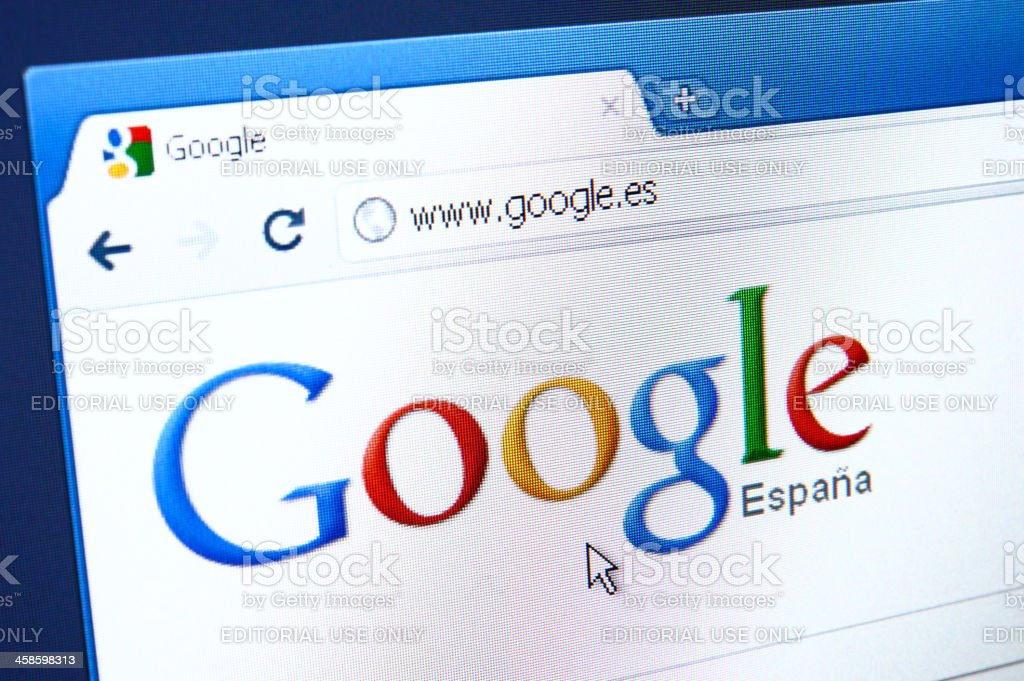 Google Spain webpage on the browser stock photo