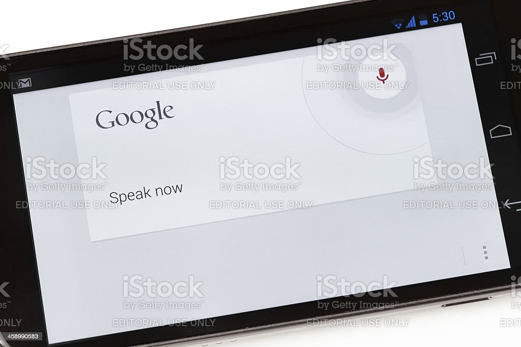Google Voice Search Application on Galaxy Nexus Smartphone stock photo