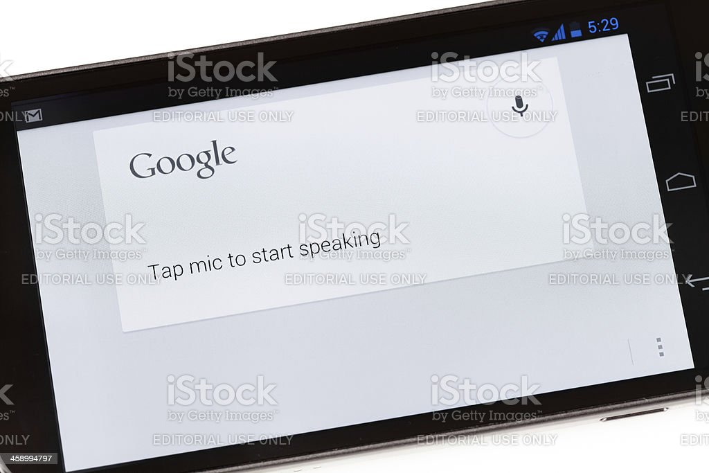 Google Voice Search Application on Galaxy Nexus Smartphone royalty-free stock photo