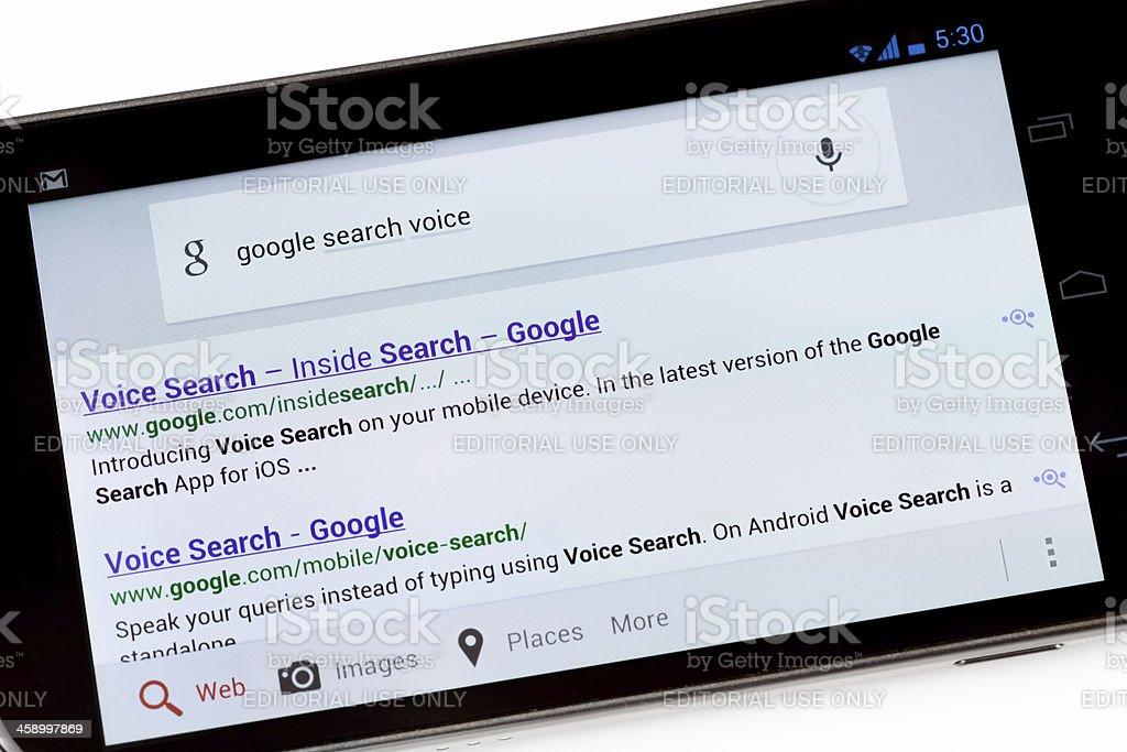 Google Voice Search Application on Galaxy Nexus Smartphone royalty-free stock photo