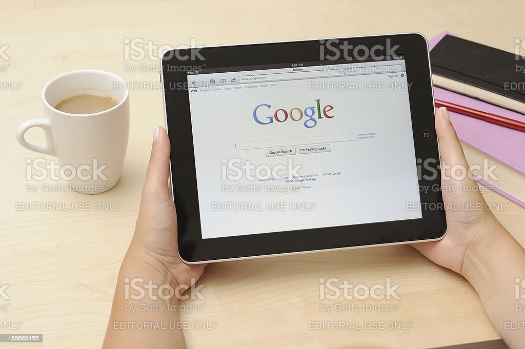 Google web page on iPad Apple Digital Tablet royalty-free stock photo