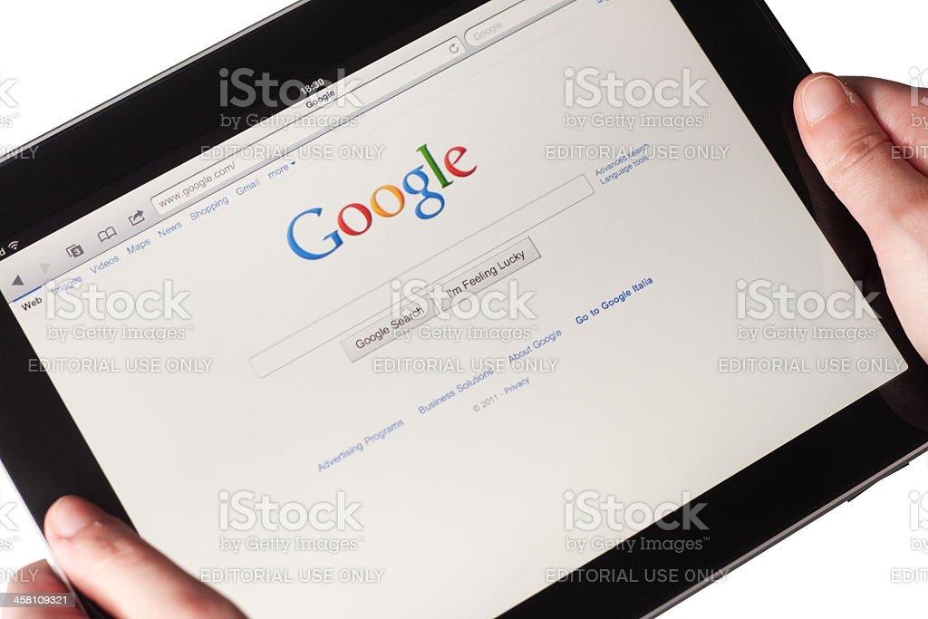 Google web pages on Apple Ipad stock photo