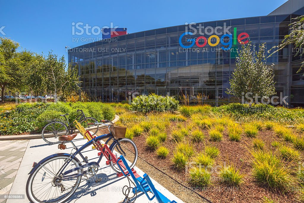 Googleplex bicycle Mountain View stock photo