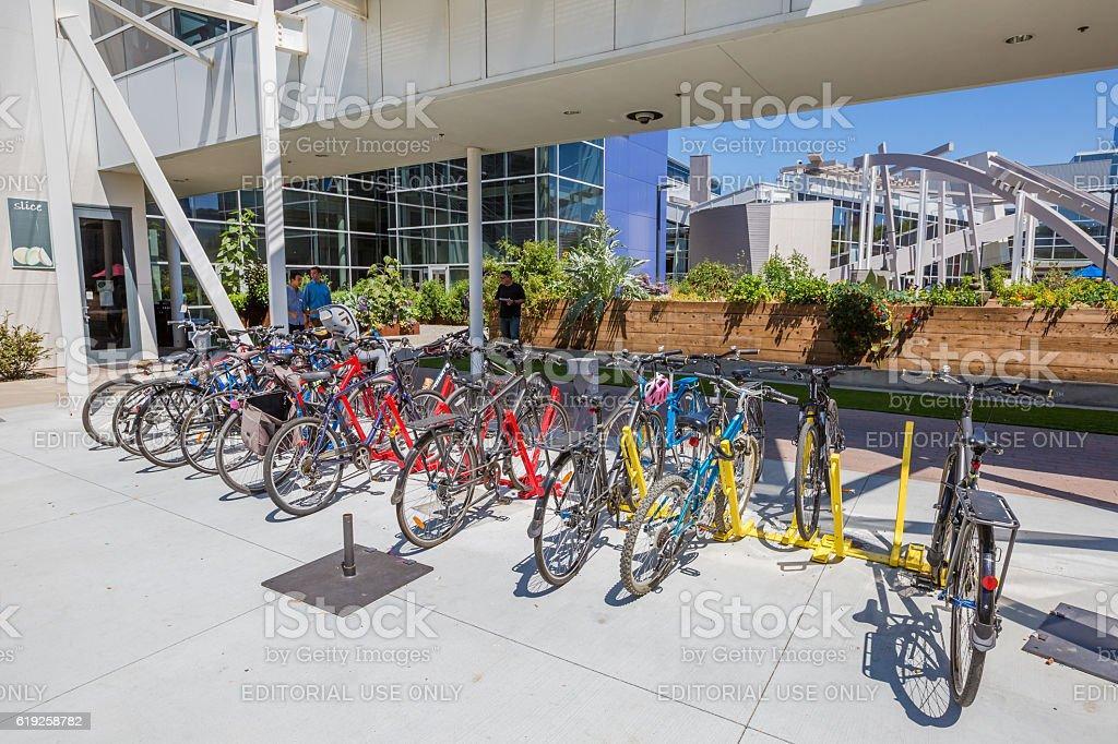 Googleplex bikes employees stock photo