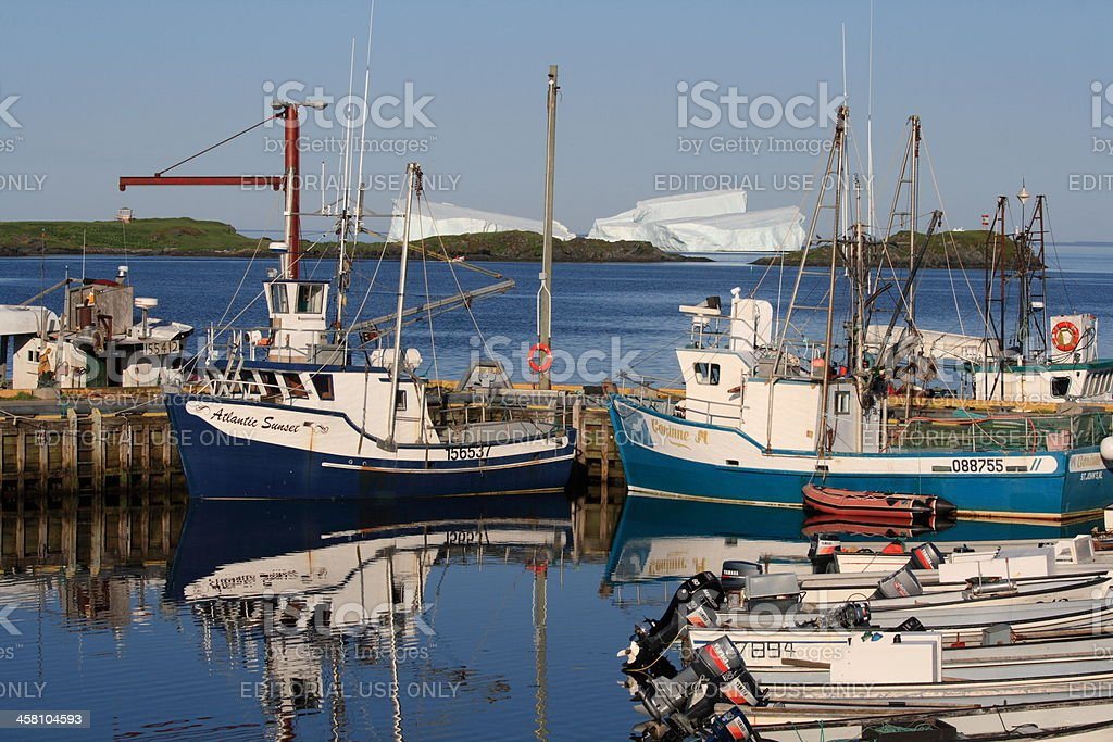 Goose Cove Boats and Icebergs stock photo