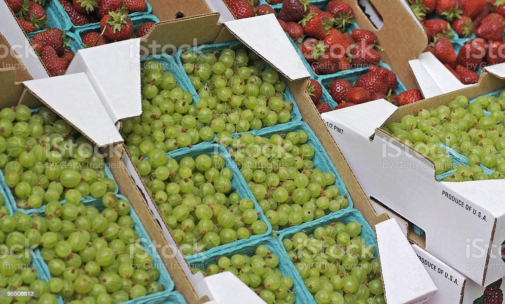 Gooseberries and Strawberries at the Farmer's Market royalty-free stock photo