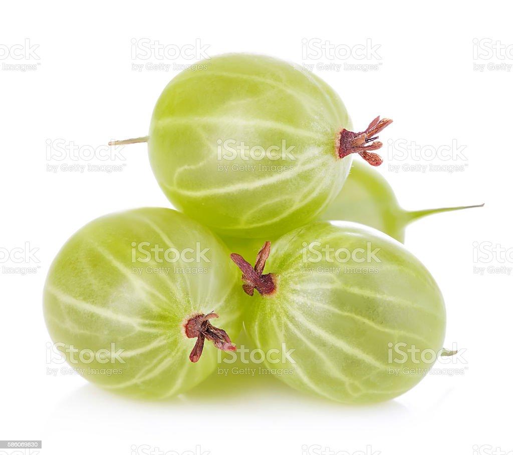Gooseberries isolated on white background stock photo