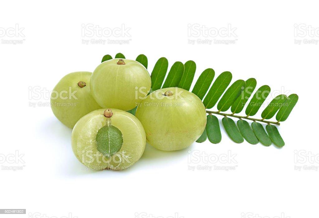 gooseberries on white background stock photo