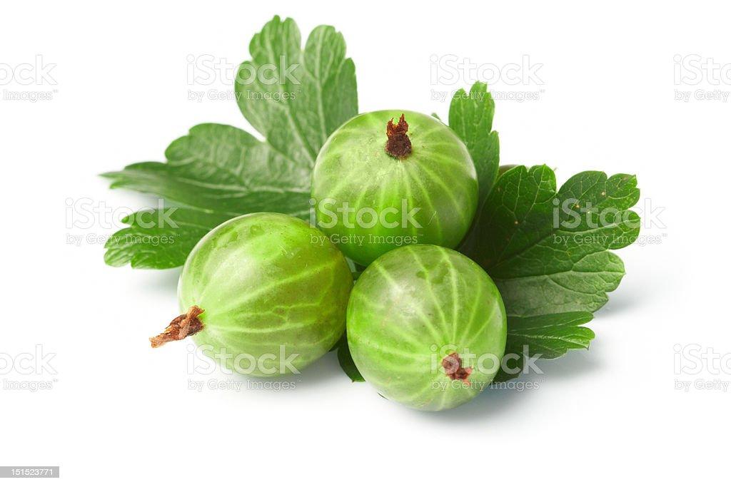 gooseberry,  among green leaves stock photo