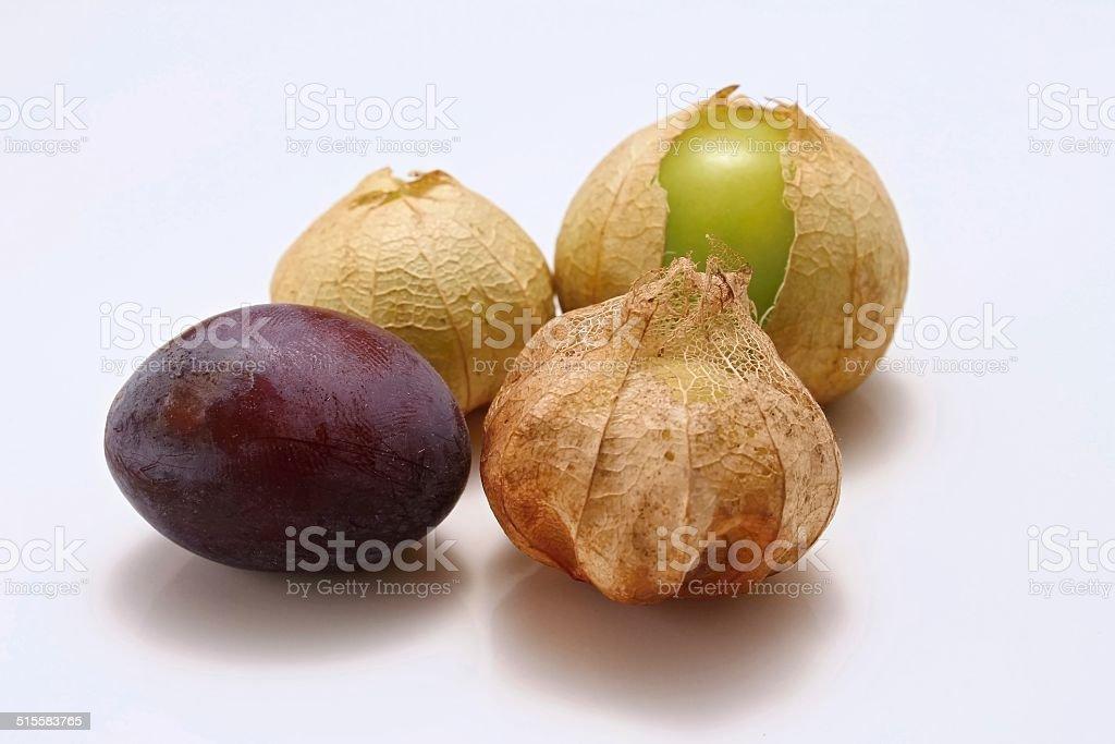 Gooseberry and plum stock photo