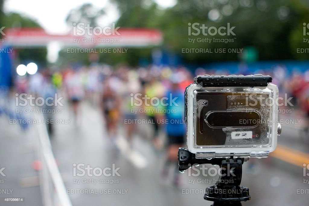 GoPro Camera Shoots Time-Lapse Of Rainy Peachtree Road Race stock photo