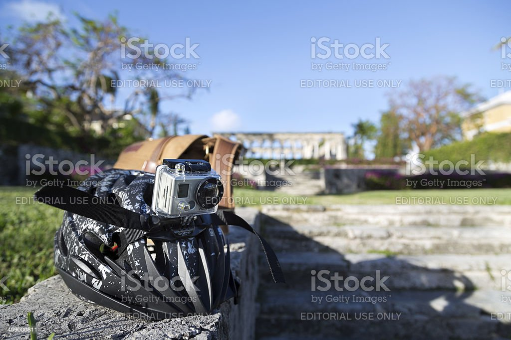 GoPro Hero camera attached to a bike helmet stock photo