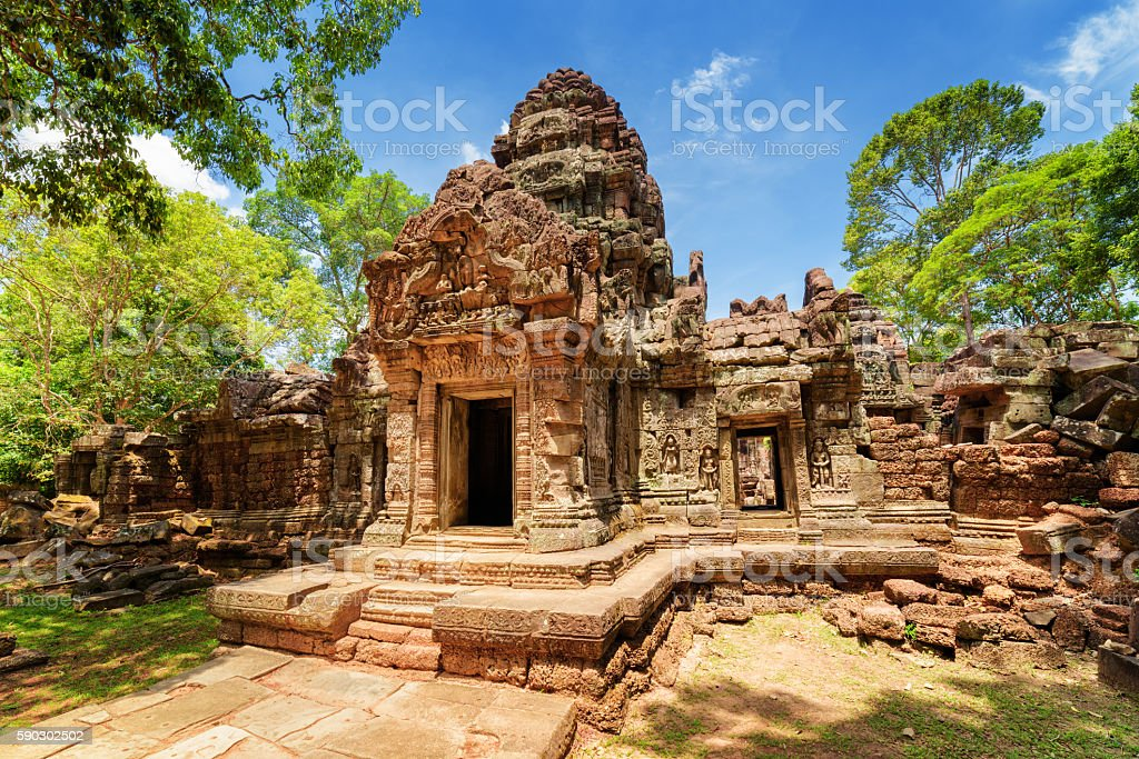 Gopura of ancient Ta Som temple in Angkor, Cambodia stock photo