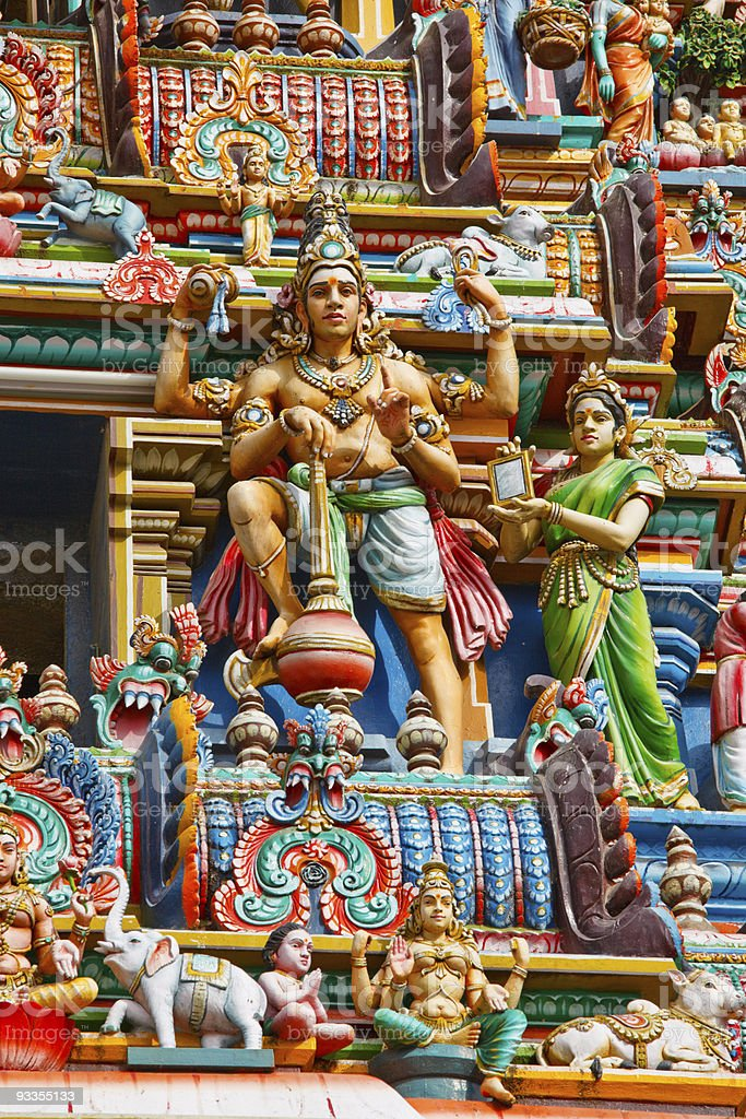 Gopuram (tower) of Hindu temple royalty-free stock photo