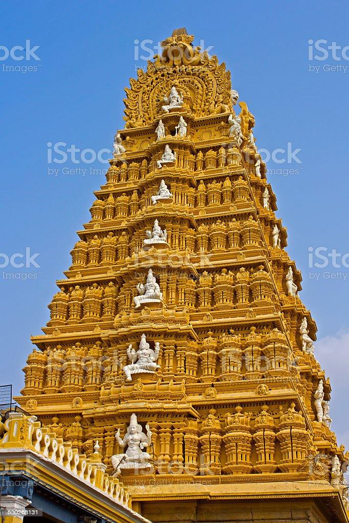 Gopuram of Shri Chamundeshwari temple stock photo