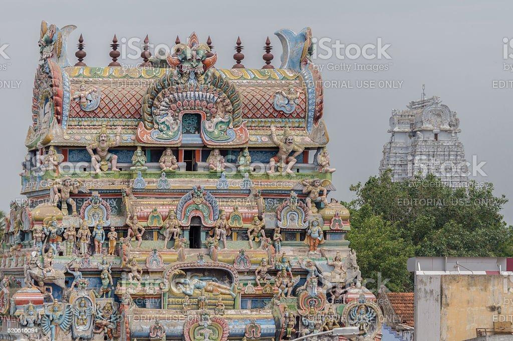 Gopuram with Vellai Gopuram in background. stock photo
