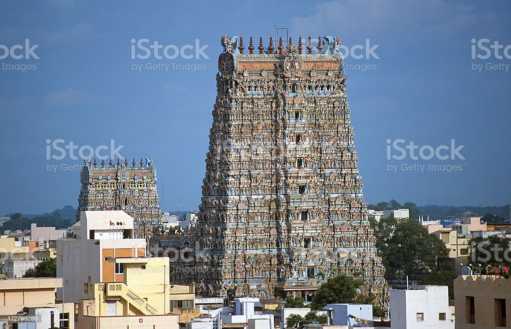 Gopurams of the Meenakshi temple royalty-free stock photo