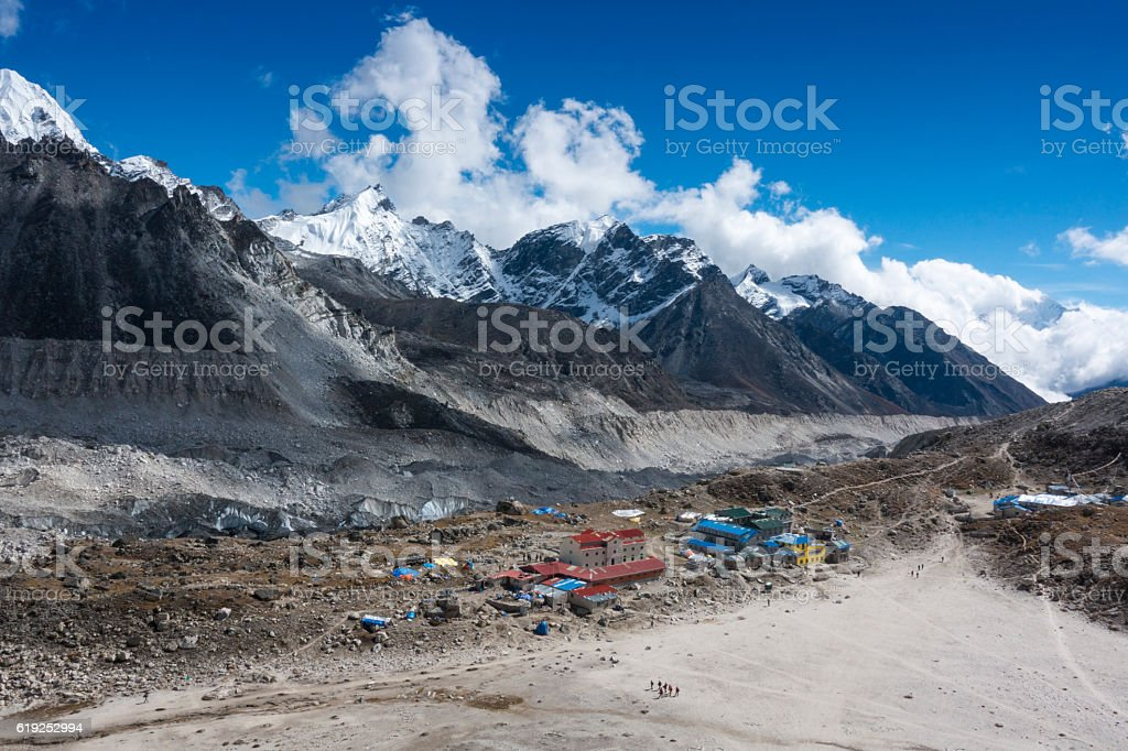 Gorak Shep. Village before Everest base camp. stock photo