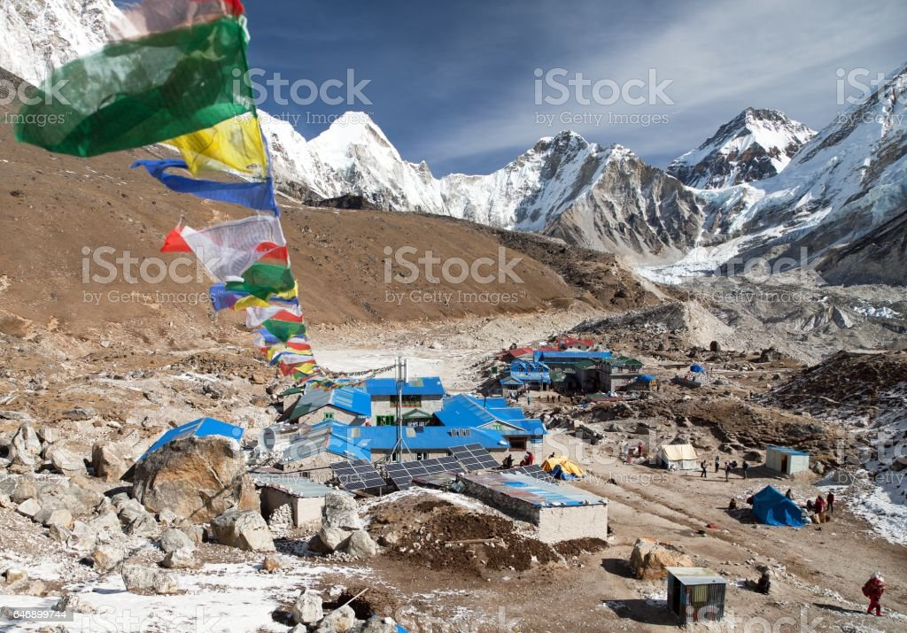 Gorak Shep village with prayer flags stock photo