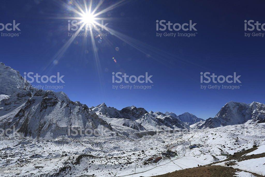 gorakshap beside of everest from kallapather summit nepal royalty-free stock photo