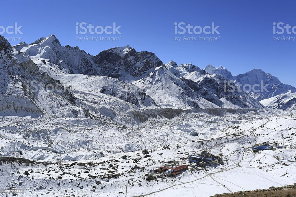 gorakshap beside of everest from kallapather summit royalty-free stock photo