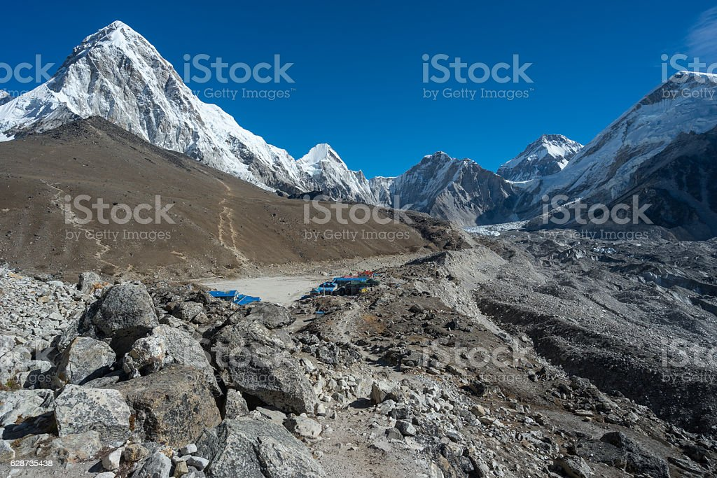 Gorakshep village near Everest base camp, Everest region, Nepal stock photo